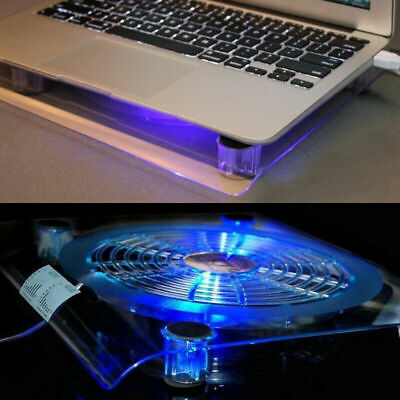 """New Laptop Cooling Pad Blue LED Light Notebook Cooler Fan Stand Tray for 10-14"""""""