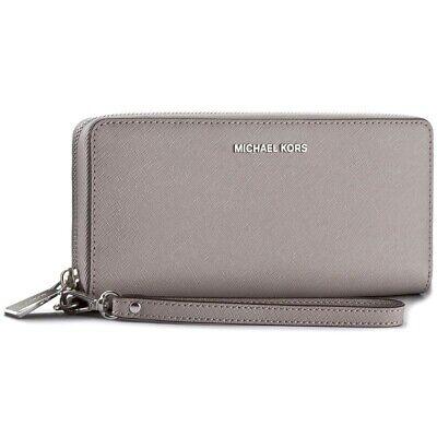 Michael Kors Pearl Grey Saffiano Leather Continental Zip Purse Wallet Wristlet