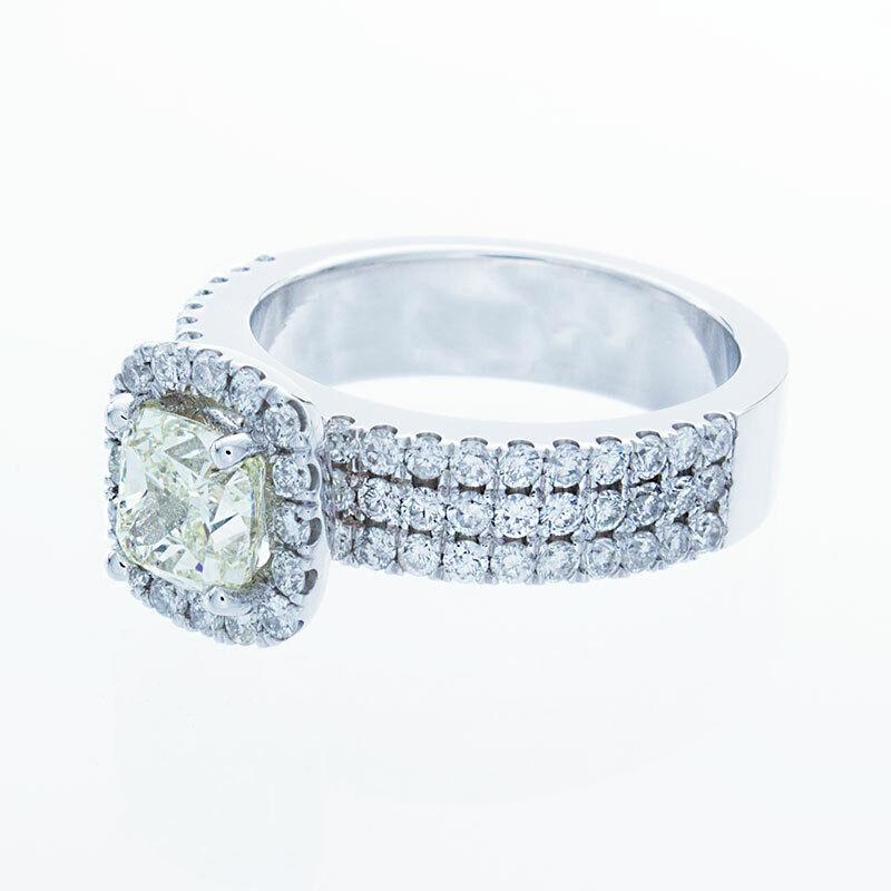 GIA Certified Diamond Engagement Ring 14k White Gold 2.12 CTW Natural Cushion  1