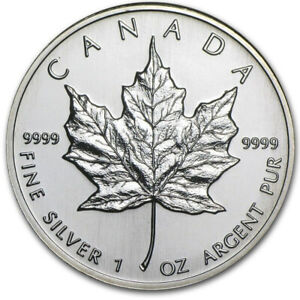1995 Canadian $ 5 Dollars Maple Leaf 1 oz .9999 Silver Coin