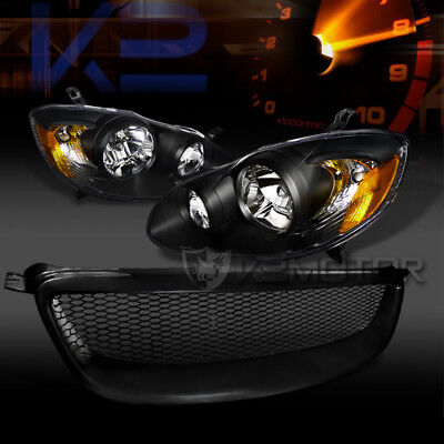 For 2003-2008 Toyota Corolla Black Headlights+Black Front Mesh Hood Grille