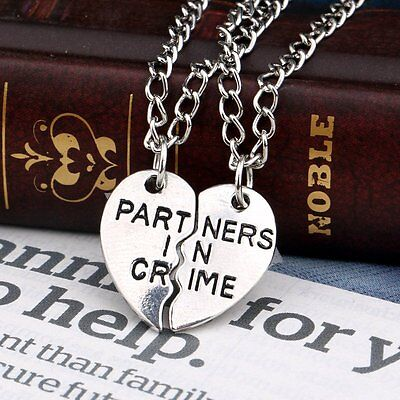 2pcs Partners in Crime Friendship Necklace Set Best Friend Couple Lovers Gifts