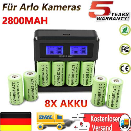 8x CR123A Akku + RCR123A Wiederaufladbar Ladegerät Arlo Kam 16340 Batterien kit