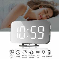 Digital Alarm Clock Projection LED Dual Alarms Snooze AM FM USB Charging Port