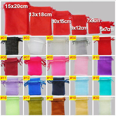 100 25 LUXURY Organza Gift Bags Jewellery Pouch XMAS Wedding Party Candy Favour