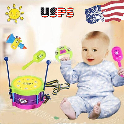 5pcs Baby Kids Toys Roll Drum Musical Instruments Band Kit Children Toy Kits