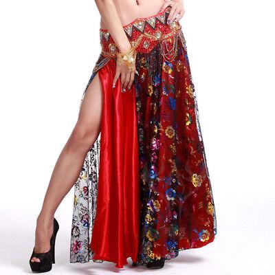 C219 wunderschöner 2 lägig Bauchtanz Kostüm Rock mit Blüten Optik ()