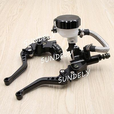 """Black 7/8"""" CNC Motorcycle Front Brake Clutch Master Cylinder Lever Set Reservoir"""
