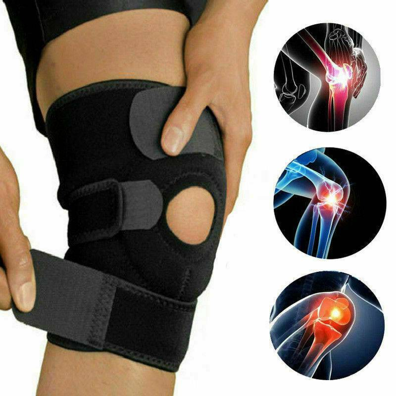Black Knee Brace Pad Support Protect Compression Breathable