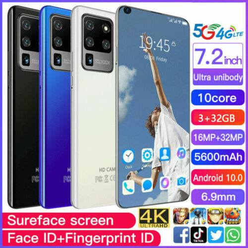 Android Phone - 7.2 Inch Android Smartphone 3GB+32GB 10 Dual SIM 10-Core 5600mAh Mobile Phone AU