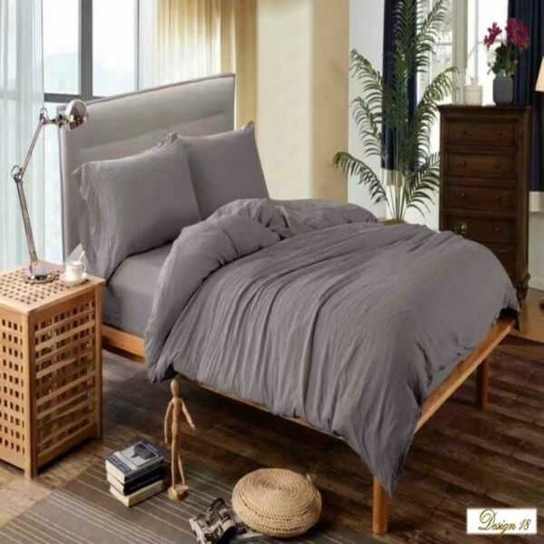 QUEEN BED Grey Color Fitted BedSheet + 2 Pillowcases Set