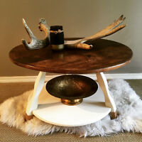 Accent Table - Cream Base with Gold Dipped Legs