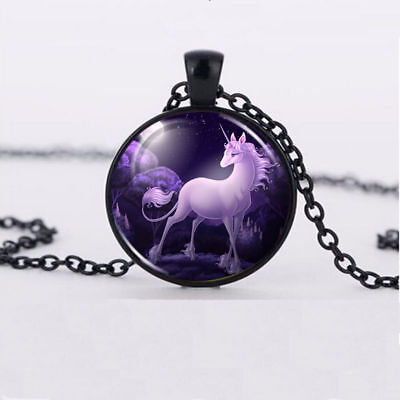 Last Unicorn Necklace Glass Dome Black Chain Pendant Necklace Wholesale