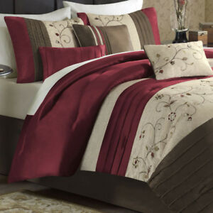 Madison Park Monroe Red 4-Pc. Comforter Set - Cal. King NEW