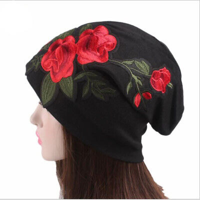 Rose Beanie Hat - Womens Embroidered Rose Flower Floral beanie Hats Knitted Winter Casual Hat cap