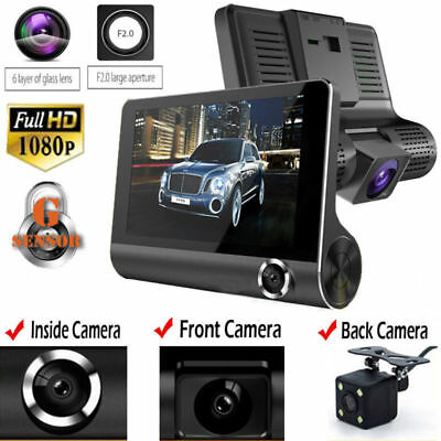 "4"" HD 1080P 3 Lens Dash Cam Rear View Car DVR Camera 170° Parking Video Recorder"