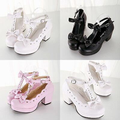 Damen Mädchen Japan Gothic High Heel PU Lolita Shoes Cosplay Kostümschuhe Pumps ()