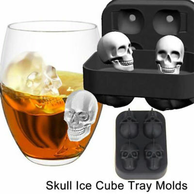 Halloween Ice Cube Molds (Halloween Silicone 3D Ice Ball Cube Tray Skull Shape Mold Chocolate Baking)