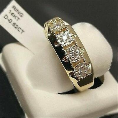 14K Yellow Gold Filled White Sapphire Ring Fashion Women Men