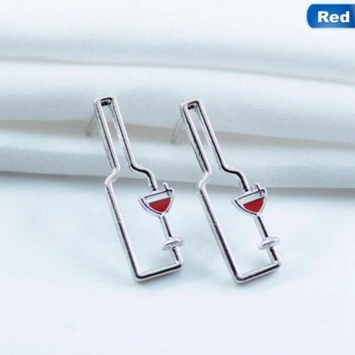 Alloy Metal Wine Bottle and Wine Glass Stud Earrings 1.4 x 3.1 cm