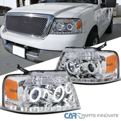 For 04-08 Ford F150 Pickup Clear Halo LED Strip Projector Headlights Head Lamps