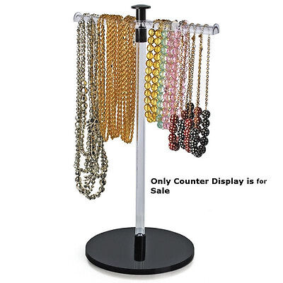 Acrylic Single Pole Necklace Counter Display 11.5 W X 19 H Inches