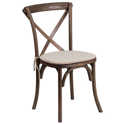 Bistro Style Cross Back Early American Wood Stack Restaurant Wedding Chair