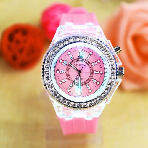 Kinder Mädchen Digital Sportuhren Rosa Analog LED Armbanduhr Silikon Strass Deko