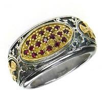 Gerochristo 2660 Solid Gold, Silver & Rubies - Medieval-byzantine Cross Ring -  - ebay.es