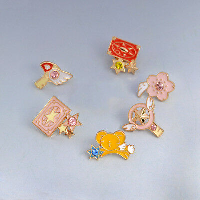 6pcs/set Card Captor Sakura Kero Sword Kinomoto Star Wand Pin Badge Japanese  - Star Wands Wholesale