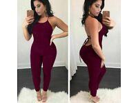 Women Lady Sexy Lace Up Backless Bandage Slim Bodycon Jumpsuit Romper Bodysuit L