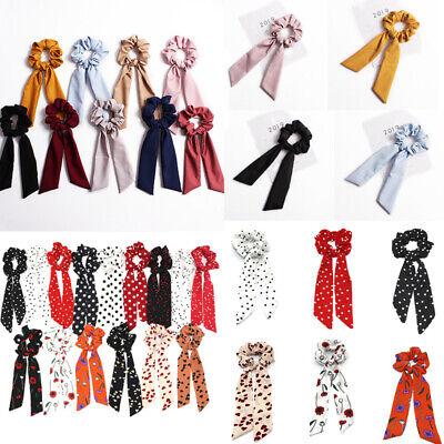 Charm Elastic Ribbon Floral Hair Ties Rope Scrunchie Band Accessories Solid Dot