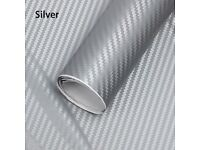 3D SILVER GREY CARBON FIBRE VINYL CAR WRAP Sticker Film (Air/Bubble Free)