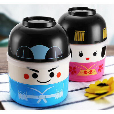 Japanese Hakoya Geisha Doll Bento Lunch Box Food Container Lunchbox w/ Lunch Bag