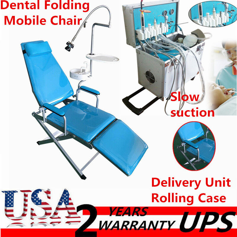 Dental Portable Folding Mobile Chair+Delivery Unit Rolling Case+Slow suction 4-H