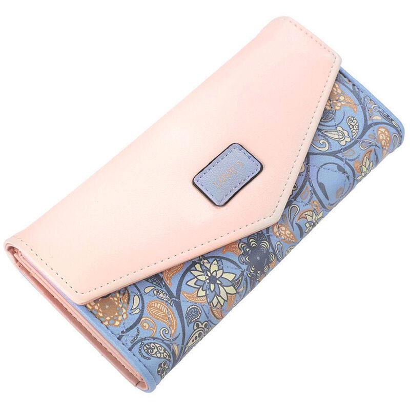 Damen Portemonnaie Geldbörse Geldbeutel Portmonee Blumen Lederbörse Brieftasche Blau