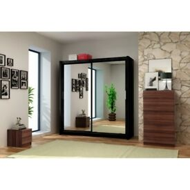 =GET YOUR ORDER NOW= Brand New German Berlin Full Mirror 2 Door Sliding Wardrobe w/ Shelves, Hanging