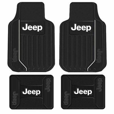 New Jeep Elite Logo All Weather Heavy Duty Rubber Front  Back Floor Mats Set