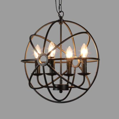Industrial vintage retro loft wrought iron metal globe cage round modern industrial chandelier light hanging fixture orb vintage ball cage 4 light aloadofball Choice Image