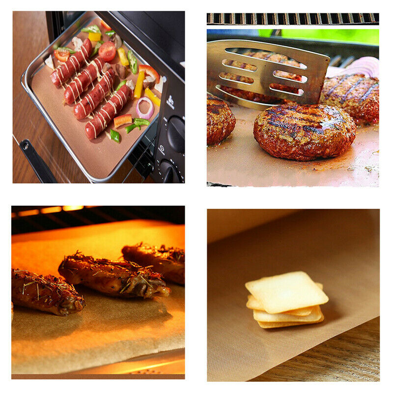 5pcs Copper Grill Mat Bbq Pad Non Stick Barbecue Mat