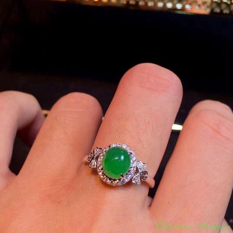 Burma Certified Grade A Natural Ice Yang Green Jadeite Finger Ring 18K Gold#2361