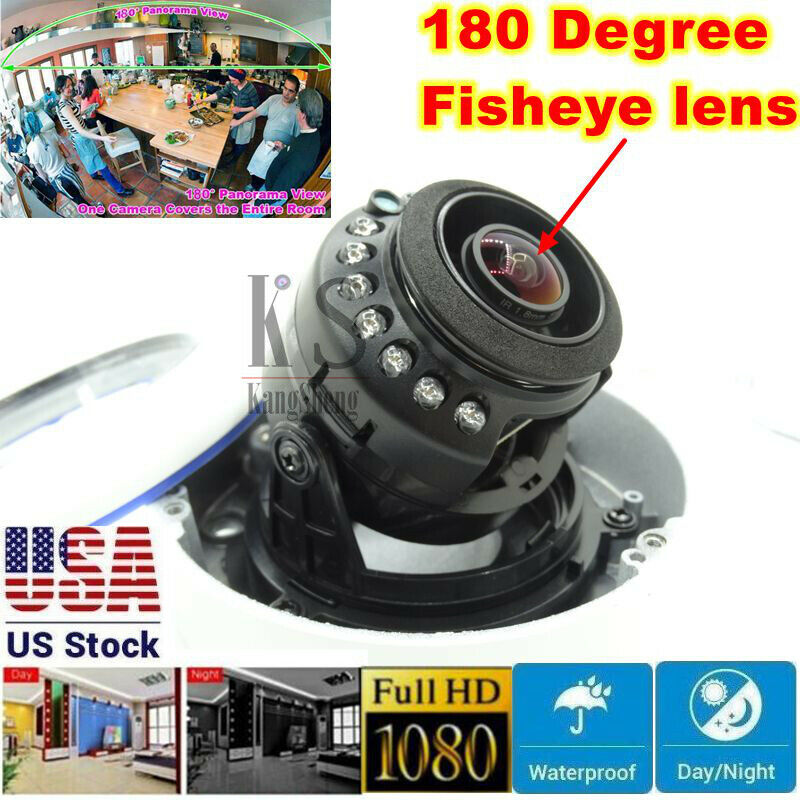 2.0MP 1080P AHD Camera 180 Degree Wide Angle Fisheye Mini Dome IR Security Cam