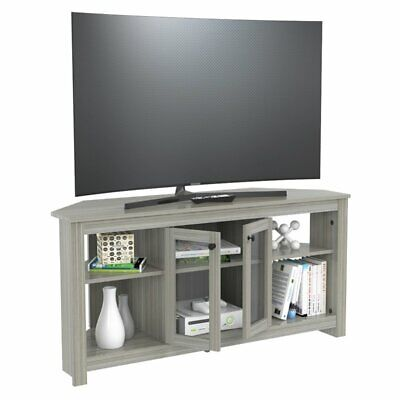 Inval Corner TV Stand with Glass Doors in Smoke Oak