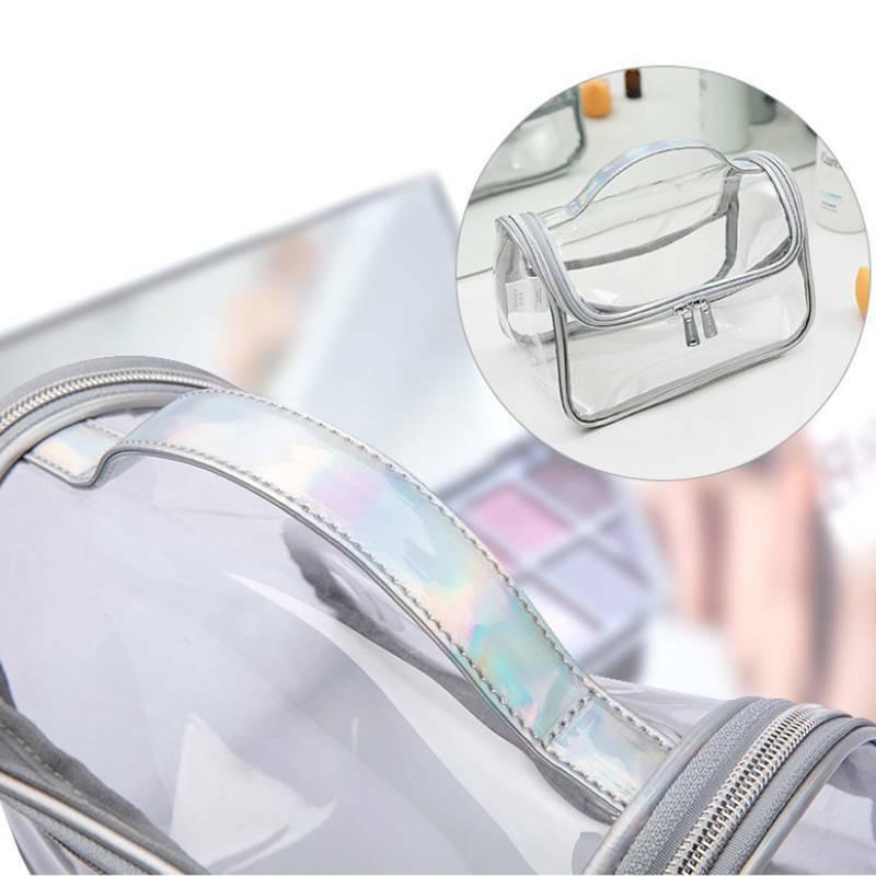 Women Clear Transparent Travel Cosmetic Bag Zipper