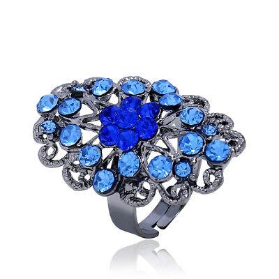 (Creative ring fashion opening adjustable rhinestone flower Charm ring Jewelry)