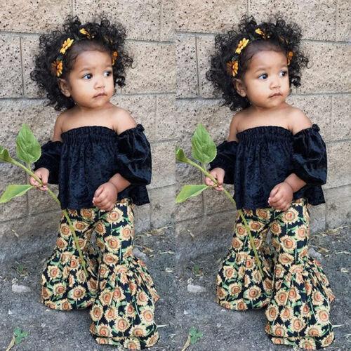 US Toddler Kids Baby Girls Crop Tops Sunflower Pants 2Pcs Su
