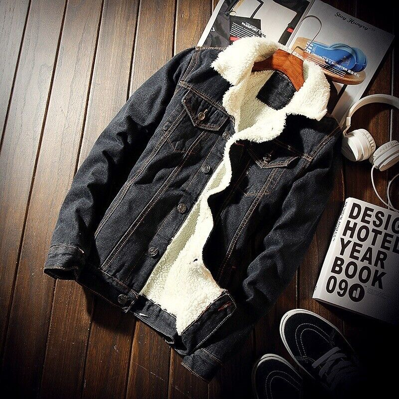 winter mens denim jackets men fleece thick