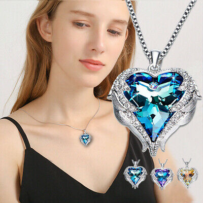 Angel Wings Necklaces Purple Crystal Heart Pendant Necklace Best Gifts For Girls