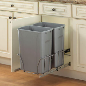 Kitchen Double Pull out Trash Can Garbage bin Storage organizer
