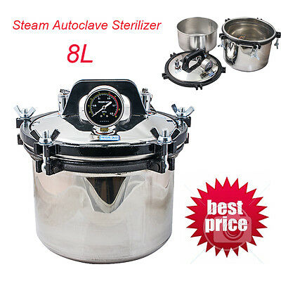 8l Dental Laboratory Pressure Pot Steam Autoclave Sterilizer 304 Stainless Steel